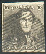 N°1 - Epaulette 10 Centimes Brun, TB Margée Et Obl. Finement Apposée  - 11610 - 1849 Epaulettes