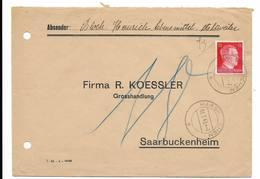 1943 Enveloppe Pour Firma R. Koessler Grosshandlung Saarbuckenheim Cachet Harskirchen Militaria WW2 Reich Allemagne - 1939-45