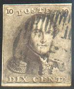 N°1 - Epaulette 10 Centimes Brun-gris, Petites Marges Et Obl. Finement Apposée  -Léger Mince  - B  11611 - 1849 Epaulettes