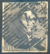 N°1 - Epaulette 10 Centimes Brun, TB Margée Et  Obl. P.114 TERMONDE  - 11613 - 1849 Epaulettes
