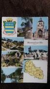 CPSM MONTREUIL SUR MER  DEPARTEMENT DU PAS DE CALAIS  CONTOUR GEOGRAPHIQUE  ED CIM BLASON CARTE FOND JAUNE - Carte Geografiche