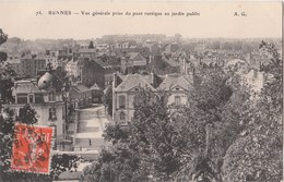 RENNES  ( 35 )  Vue Générale Prise Du Pont Rustique Au Jardin Public - Rennes