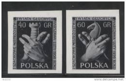 POLAND 1956 WORLD DEAF CHESS CHAMPS BLACK PRINTS NHM Sign Language Games Horses Knight Rook Castle