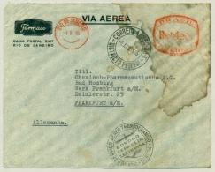 Brasil / Deutschland - 1935 - Condor Zeppelin Cover Rio De Janeiro - Frankfurt - Meter Mark - Waterdamage - Zeppelins