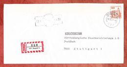 Einschreiben Reco, EF Schloss Pfaueninsel Berlin, Nagold Nach Stuttgart 1977 (35057) - Cartas