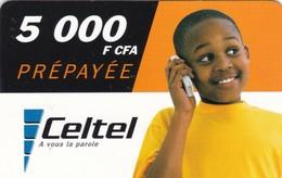 Gabon, GAB-CEL-021, Celtel, 5 000F CFA, Boy, 2 Scans.