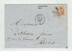 1862 - N°10 B TYPE 2 Percé En Ligne SUR LETTRE - TTB - 1849-1876: Classic Period