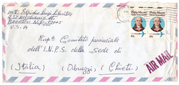 STORIA POSTALE - USA AIR MAIL - ANNO 1983 - CLIFTON - INPS - CHIETI - ITALIA - PHILIP MAZZEI - DA LUIGI LIBERATORE - - Central America