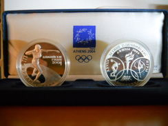 RUSSIA 3 RUBLES 2004 BELARUS 20 RUBLES 2003 SILVER PROOF SET OLYMPIC GAMES ATHENS 2004  OLYMPIC CASE - Monedas