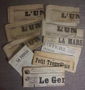 LOT DE 10 JOURNAUX DONT 9 AVANT 1900 VOIR SCANNS - Vieux Papiers