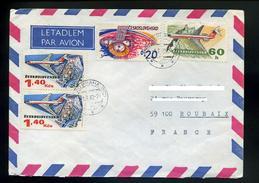 Marcophilie,lettre 1982 Praha 025,avion Survole Chateaux,ruines,fortifications,lettre De Tchecoslovaquie Pour La France - Schlösser U. Burgen
