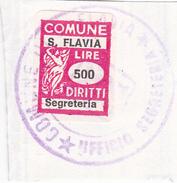 SANTA FLAVIA /  Marca Da Bollo Comunale Su Frammento Con Bollo _  Italy Revenue Fiscal Municipal Local - Italien