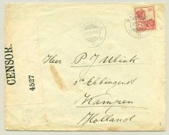 Nederlands Indië - 1917 - KB MAKASSER Op 10 Cent Wilhelmina Met Scheepje Censuurbrief Naar Kampen - Nederlands-Indië