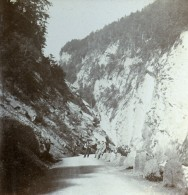 Suisse Alpes Ragaz Gorges De La Tamina Taminaschlucht Ancienne Photo Stereo Amateur 1900 - Stereoscopic