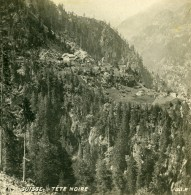 Suisse Alpes Tete Noire Hameau De Montagne Ancienne Photo Stereo SIP 1900 - Stereoscopic