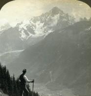 France Alpes Chamonix Aiguille Verte Et Dru Montagne Ancienne Photo Stereo 1900 - Photos Stéréoscopiques