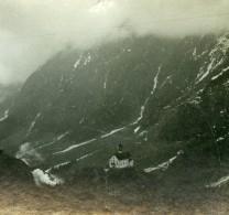 Suisse Alpes Village De Montagne Eglise Ancienne Photo Stereo 1900 - Stereoscopic