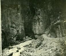 Suisse Oberland Bernois Entrée Des Gorges De Lütschine Ancienne Photo Stereo Amateur 1900 - Stereoscopic
