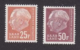 Saar, Scott #298, 302, Mint Hinged/Never Hinged, Heuss, Issued 1957 - 1957-59 Federation
