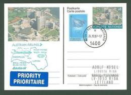 Postcard E60 Stationery UN 1997 SC First Flight Vienna - Riga Latvia - Lettland
