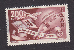Saar, Scott #C12, Mint Hinged, Symbols Of Council Of Europe, Issued 1950 - Poste Aérienne