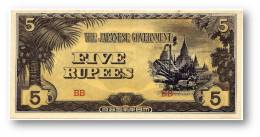 BURMA ( Now Myanmar ) - WWII - Japanese Occupation - 5 Rupees - ND ( 1942 ) - P 15.b - Serie BB - Myanmar