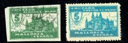 MALLORCA  Contra El Paro   Verde Sin Dentar  Usados - Spanish Civil War Labels
