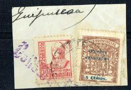 CADIZ Sello Provincial 5 Cts Sobrecargo «Objetos Envasados» Usado Sobre Fragmento - Viñetas De La Guerra Civil