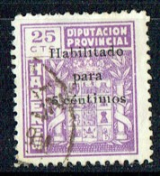 HABERES  25 Cts Sobrecargo «Habilitado Para 5 CTS »  Usado - Spanish Civil War Labels