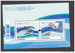 Canada, 2010, Vie Marine, Baleine, Loutre, émission Commune Avec Suède, Whale, Otter, Joint Issue With Sweden, Marsouin,