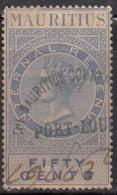 Mauritius Used Internal Revenue, Victoria Fifty Cents, 50c, Wmk Crown CA - Mauritius (...-1967)