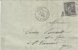 1878 - Lettre  Affr. 15 C Sage Oblit. Cad PARIS / LA GARE D'IVRY   Pour L'Yonne - Marcophilie (Lettres)