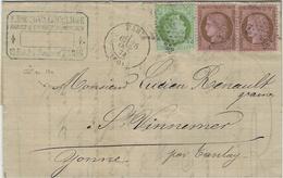 1874- Lettre De PARIS Bureau Central Affr. Paire N° 58 + N°53 Oblit. étoile Pleine - 1849-1876: Période Classique