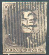 N°1 - Epaulette 10 Centimes Brun, TB Margée Et  Obl. P.45 GAND Nette Et Centrale - 11614 - 1849 Epaulettes