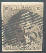 N°1 - Epaulette 10 Centimes Brun, Margée Et  Obl. P.73 LIEGE - 11616 - 1849 Epaulettes