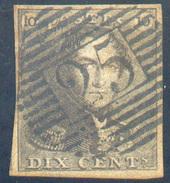 N°1 - Epaulette 10 Centimes, Bien Margé, Obl. P.25  CHARLEROI Centrale - 11624 - 1849 Epaulettes