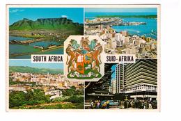 Afrique Du Sud South Africa Carte 4 Vues Cape Town Durban Pretoria Johannesburg + Blason , Carte Non Voyagée - Sudáfrica