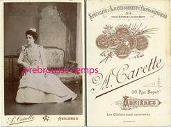 Grand CDV (Cabinet)-femme élégante-mode-bourgeoisie-photo A. Carette 30 Rue Bapst à Asnières - Photographs