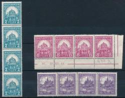 ** 1928 PengÅ'-fillér (II.) B Sor Négyescsíkokban (20.000) (apró Ráncok / Small... - Stamps