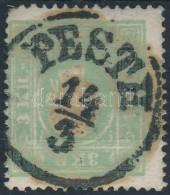 O 1858 3kr Zöld ,,PESTH' (20.000)(gyenge Jobb Alsó Sarok/ Short Corner Perf.) - Stamps
