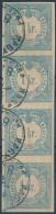 O 1868 Hírlapilleték 1kr Négyescsík, 1 Bélyeg Vízjeles - Stamps
