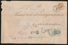 1869 Ajánlott Levél 15kr 'PEST' - Túrkeve, A Borítékon 15kr... - Stamps