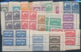 ** 1926 PengÅ'-fillér (I) A Sor ívsarki Négyestömbökben / Mi 411-426 Set Corner... - Stamps