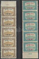 ** 1918 RepülÅ' Posta Sor ívszéli ötös Csíkokban (75.000++) / Airmail Set... - Stamps
