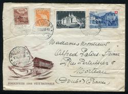 Suisse - Cover / Enveloppe De Grenchen Pour La France En 1948 , Affr. Plaisant + Vignette De Basel Au Verso    Ref F164