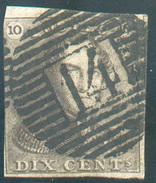 N°1 - Epaulette 10 Centimes Brune, (défaut) , Obl. P.14 BEAUMONT Finement Apposée -  11634 - 1849 Epaulettes