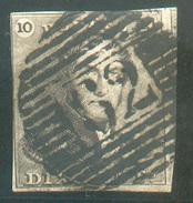 N°1 - Epaulette 10 Centimes Brune, Marges Courtes, 1 Voisin , Obl. P.62 HUY Centrale -  11635 - 1849 Epaulettes