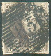 N°1 - Epaulette 10 Centimes Brune, Margée, Obl. P.85 NAMUR Centrale, Regard Dégagé -  11637 - 1849 Epaulettes