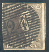 N°1 - Epaulette 10 Centimes Brun-ACAJOU, Bien Margée Et 1 Voisin , Obl. P.24 BRUXELLES Centrale, Léger Pli Mais Belle Nu - 1849 Epaulettes