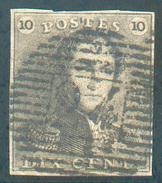 N°1 - Epaulette 10 Centimes Brun, Bien Margée Et Obl. P.24 BRUXELLES Centrale  - 11642 - 1849 Epaulettes